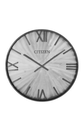 Citizen 24 Inch Gallery Gray Metal Frame Wall Clock