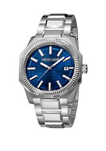 Roberto Cavalli Men's Swiss Date Blue Dial Silver Bracelet Watch, 40 mm