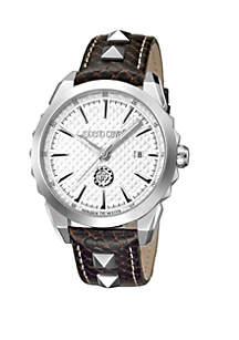 Roberto Cavalli Men's Swiss Quartz Brown Calfskin Leather Strap Watch, 42 mm