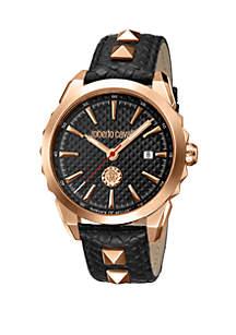 Roberto Cavalli Men's Swiss Quartz Black Calfskin Leather Strap Watch, 42 mm