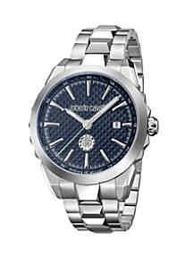 Roberto Cavalli Men's Swiss Quartz Silver Stainless Steel Bracelet Watch, 42 mm