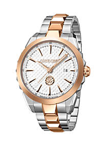 Roberto Cavalli Men's Swiss Quartz Two Tone Stainless Steel Bracelet Watch, 42 mm
