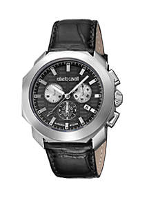 Roberto Cavalli Men's 44 Millimeter Swiss Chronograph Black Calfskin Leather Strap Watch