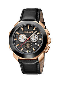 Roberto Cavalli Men's 44 Millimeter Rose Gold Swiss Chronograph Black Calfskin Leather Strap Watch