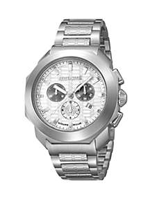 Roberto Cavalli Men's 44 Millimeter Swiss Chronograph Silver Stainless Steel Bracelet Watch