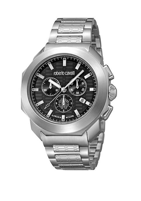 Mens 44 Millimeter Swiss Black Chronograph Silver Stainless Steel Bracelet Watch