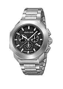 Roberto Cavalli Men's 44 Millimeter Swiss Black Chronograph Silver Stainless Steel Bracelet Watch