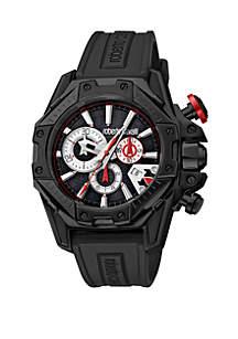 Roberto Cavalli Men's 44 Millimeter Swiss Chronograph Black Rubber Strap Watch