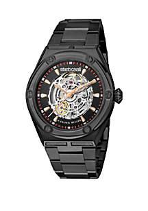Roberto Cavalli Men's 44 Millimeter Skeleton Swiss Automatic Black Bracelet Watch