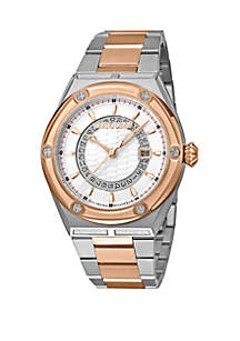 Roberto Cavalli Men's 45 Millimeter Swiss Quartz Two Tone Rose Gold Stainless Steel Bracelet Watch
