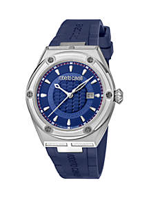 Roberto Cavalli Men's 45 Millimeter Swiss Quartz Blue Rubber Strap Watch