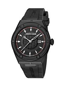 Roberto Cavalli Men's 45 Millimeter Swiss Quartz Black Rubber Strap Watch