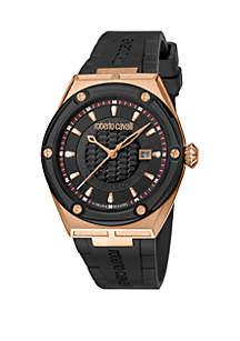 Roberto Cavalli Men's 45 Millimeter Swiss Quartz Rose Gold Case Black Rubber Strap Watch