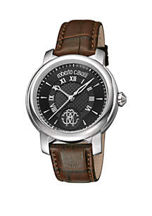 Roberto Cavalli Men's 43 Millimeter Swiss Quartz Brown Calfskin Leather Strap Watch