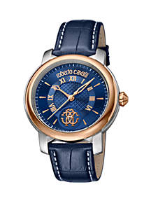 Roberto Cavalli Men's 43 Millimeter Swiss Quartz Blue Calfskin Leather Strap Watch
