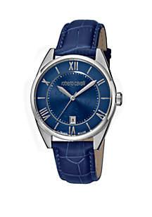 Roberto Cavalli Men's Swiss Quartz Blue Calfskin Leather Strap Watch, 40 mm