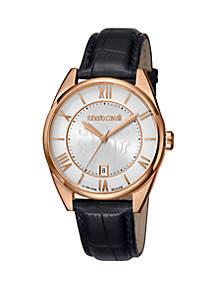 Roberto Cavalli Men's Swiss Quartz Brown Calfskin Leather Strap Watch, 40 mm