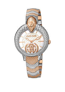 Roberto Cavalli Women's 34 Millimeter Swiss Quartz Two Tone Rose Gold Stainless Steel Bracelet Watch