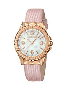 Roberto Cavalli Women's 34 Millimeter Swiss Quartz Pink Leather Strap Watch