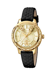 Roberto Cavalli Women's 34 Millimeter Swiss Quartz Black Calfskin Leather Strap Gold Dial Watch
