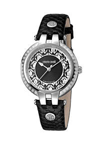 Roberto Cavalli Women's 34 Millimeter Swiss Quartz Black Calfskin Leather Strap Black Dial Watch