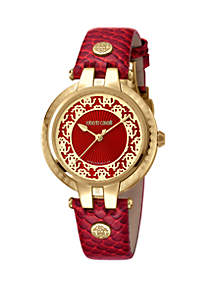Roberto Cavalli Women's 34 Millimeter Swiss Quartz Red Calfskin Leather Strap Watch