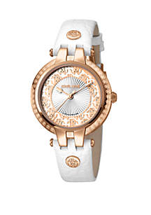 Roberto Cavalli Women's 34 Millimeter Swiss Quartz White Calfskin Leather Strap Watch