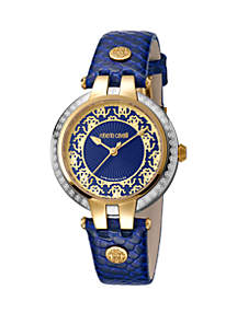 Roberto Cavalli Women's 34 Millimeter Swiss Quartz Navy Calfskin Leather Strap Watch