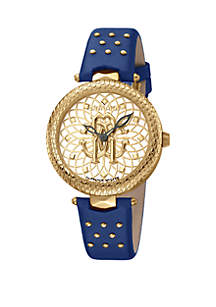 Roberto Cavalli Women's 34 Millimeter Swiss Quartz Blue Calfskin Leather Strap Gold Dial Watch