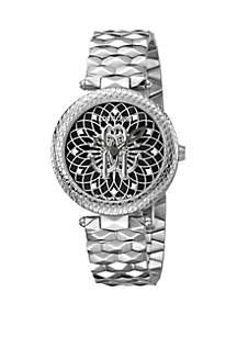 Roberto Cavalli Women's 34 Millimeter Swiss Quartz Silver Stainless Steel Bracelet Black Dial Watch