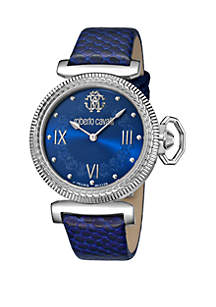 Roberto Cavalli Women's 38 Millimeter Swiss Quartz Blue Calfskin Leather Strap Watch