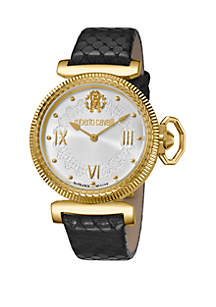 Roberto Cavalli Women's 38 Millimeter Swiss Quartz Black Calfskin Leather Strap White Dial Watch