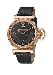 Roberto Cavalli Women's 38 Millimeter Swiss Quartz Black Calfskin Leather Strap Black Dial Watch