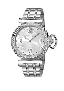 Roberto Cavalli Women's 38 Millimeter Swiss Quartz Silver Stainless Steel Bracelet Watch