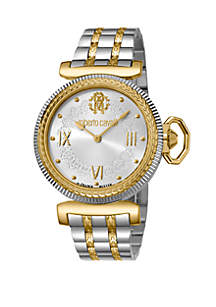 Roberto Cavalli Women's 38 Millimeter Swiss Quartz Two Tone Gold Stainless Steel Bracelet Watch