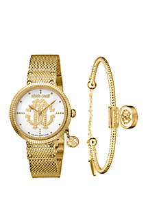 Roberto Cavalli Women's 34 Millimeter Swiss Quartz Gold Tone Stainless Steel Watch and Bracelet Gift Set