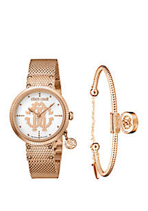 Roberto Cavalli Women's 34 Millimeter Swiss Quartz Rose Tone Stainless Steel Watch and Bracelet Gift Set