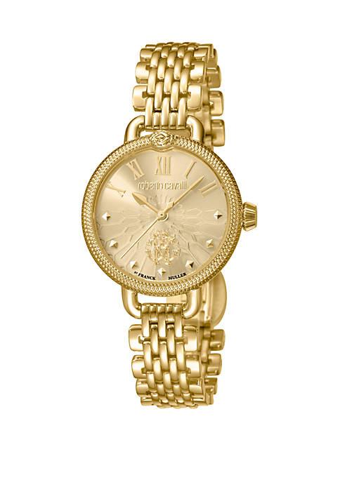 Womens Swiss Quartz Gold-Tone Stainless Steel Bracelet Watch, 30 mm