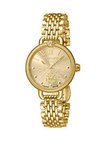 Roberto Cavalli Women's Swiss Quartz Gold-Tone Stainless Steel Bracelet Watch, 30 mm