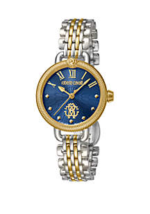 Roberto Cavalli Women's Swiss Quartz Two Tone Stainless Steel Bracelet Watch, 30 mm