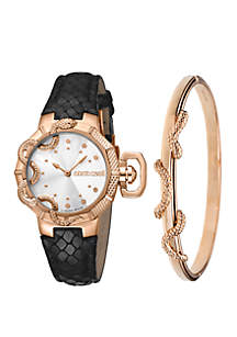 Roberto Cavalli Women's 34 Millimeter Swiss Quartz Rose Gold Black Calfskin Leather Strap Watch and Bracelet Gift Set