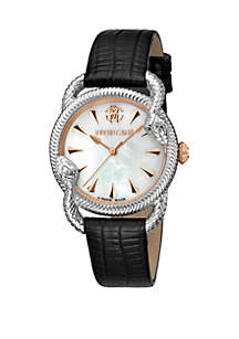 Roberto Cavalli Women's 34 Millimeter Swiss Quartz Black Leather Strap Mother of Pearl Dial Watch