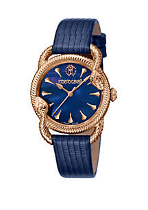 Roberto Cavalli Women's 34 Millimeter Swiss Quartz Blue Leather Strap Mother of Pearl Dial Watch