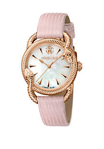 Roberto Cavalli Women's 34 Millimeter Swiss Quartz Pink Leather Strap Mother of Pearl Dial Watch