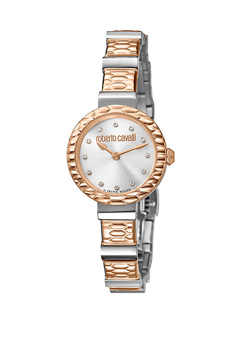 Womens Swiss Quartz 2 Tone Rose Gold Stainless Steel Watch, 26 mm