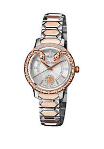 Roberto Cavalli Women's Diamond Swiss Quartz 2 Tone Rose Gold Stainless Steel Bracelet Watch, 34 mm