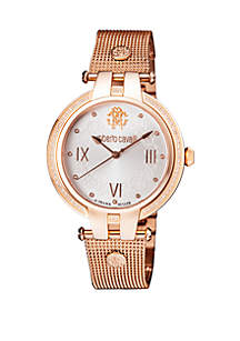 Roberto Cavalli Women's Diamond Swiss Quartz Rose Tone Stainless Steel Bracelet Watch, 40 mm