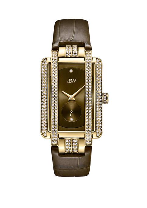 1/10 ct. t.w. Diamond Mink Leather Watch