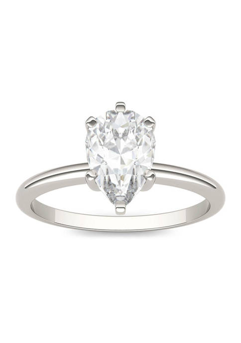 1.5 ct. t.w. Moissanite Pear Solitaire Ring in 14K White Gold