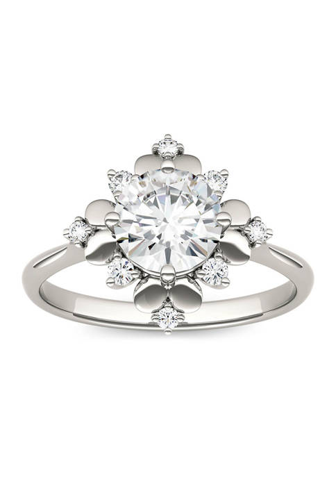 1.11 ct. t.w. Lab Created Moissanite Floral Halo Ring in 14K White Gold